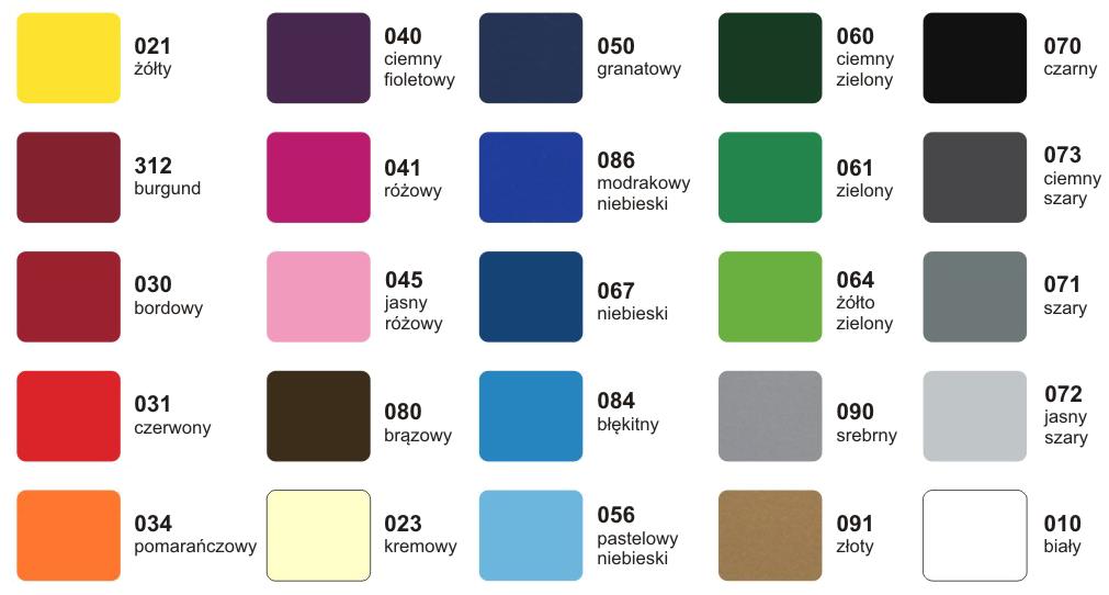 Wzornik kolorów folii
