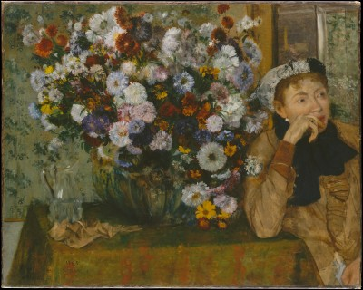 A Woman Seated beside a Vase of Flowers - Edgar Degas