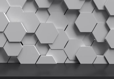 White hexagons 3D