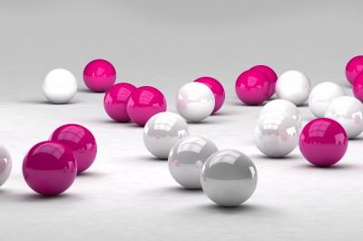 Białe i różowe kule 3D #84683831
