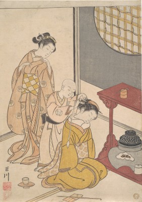 Night Rain at the Double-Shelf Stand, from the series Eight Parlor Views -  Suzuki Harunobu