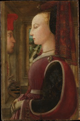 Portrait of a Woman with a Man at a Casement - Fra Filippo Lippi