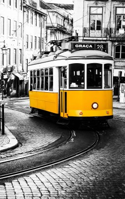 Yellow tramway of Lisbon #83677780
