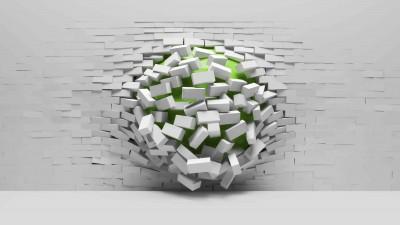 Zielona kula w ścianie