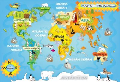 Fototapeta Mapa Świata dla dzieci #46217472