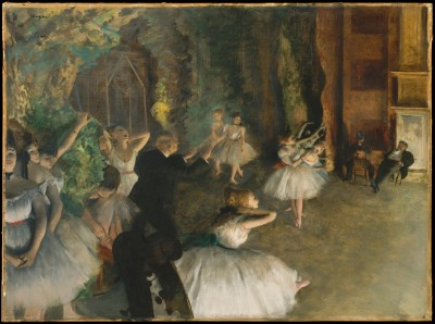 The Rehearsal of the Ballet Onstage - Edgar Degas