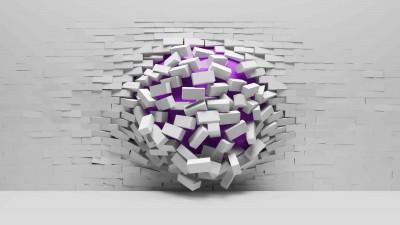 Fioletowa kula w ścianie