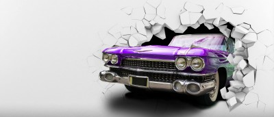 Violet Vintage car in the wall